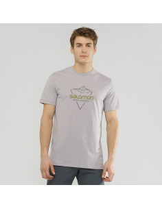 Тениска SALOMON BLEND LOGO TEE M ALLOY/BLACK/MARTINI OL