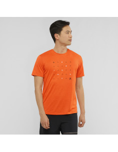 Тениска SALOMON AGILE GRAPHIC TEE M PUREED/RED ORANGE/HE