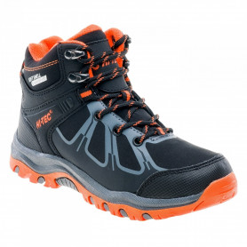 Туристически обувки HITEC OUTDOOR SHOES NERO MID WP JR BLACK/DARK GREY/ORANGE