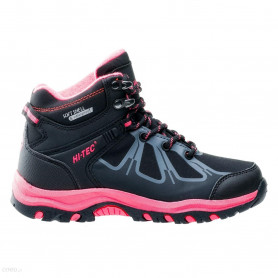 Туристически обувки HITEC SHOES NERO MID WP JRG BLACK/DARK GREY/SHINY PINK