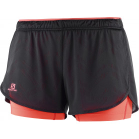 Шорти SALOMON AGILE 2IN1 SHORT W BLACK/FIERY CORAL